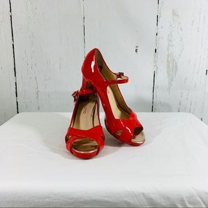 Franco Sarto Pink Patent Leather Peep Toe Heels